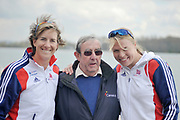 Caversham, Great Britain.   2012 GB Rowing World Cup Team  [L] Katherine GRAINGER, Mike ROSEWELL and [R] Anna WATKINGS, Team Announcement Wednesday  04/04/2012  [Mandatory Credit; /Intersport-images]