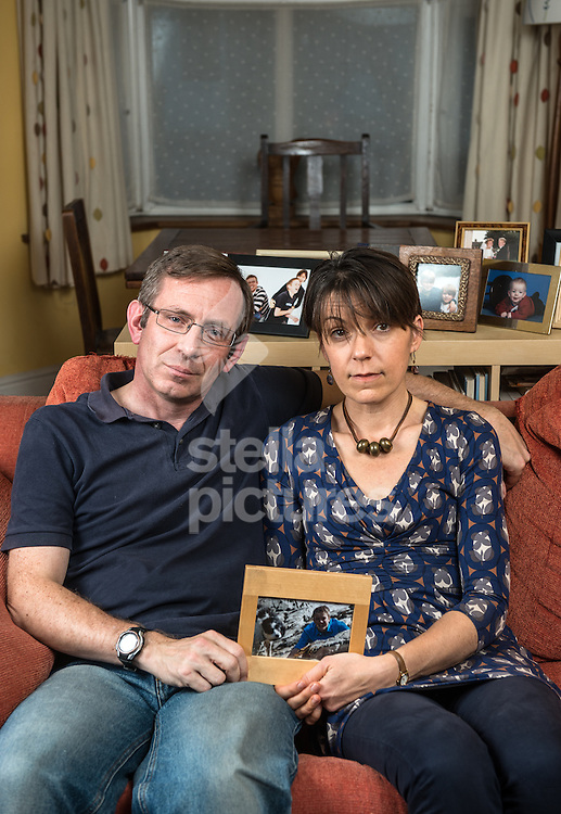 Fiona and Tim Spargo-Mabbs pictured at their Croydon home.<br /> Their son Daniel died after taking an ectasy tablet.  <br /> Picture by Daniel Hambury/Stella Pictures Ltd +44 7813 022858<br /> 29/10/2014