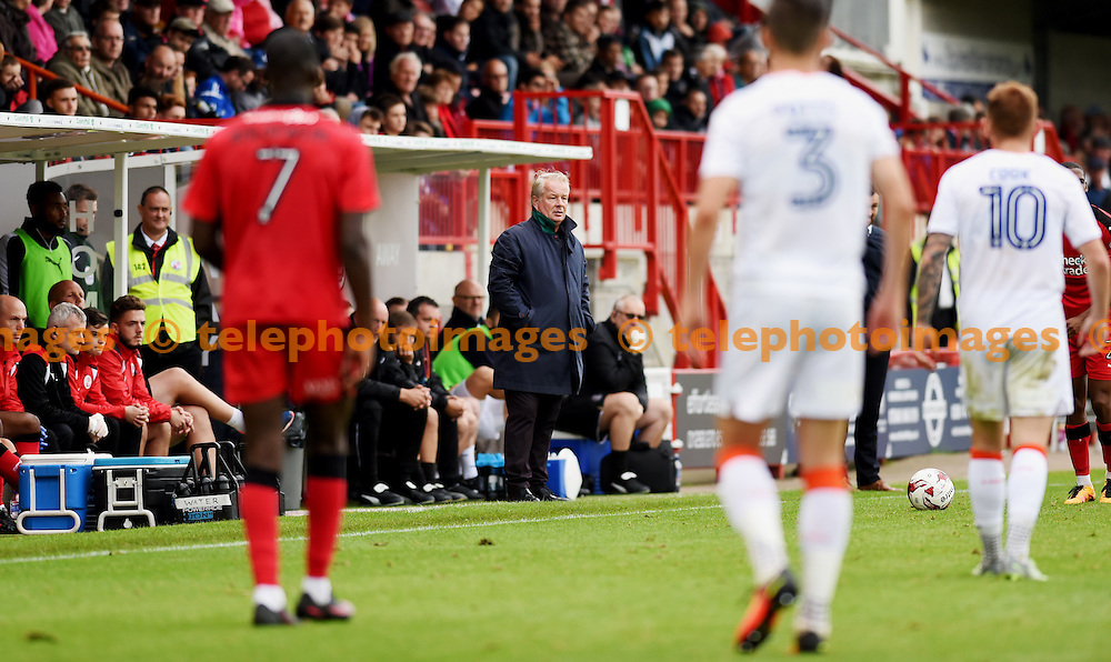 Crawley head coach Dermot Drummyd uring the Sky Bet League 2 match between Crawley Town and Luton Town at the Checkatrade Stadium in Crawley. September 17, 2016.<br /> Simon  Dack / Telephoto Images<br /> +44 7967 642437
