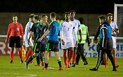 BANGOR, WALES - Saturday, November 12, 2016: Wales' Matthew Smith and Nathan Broadhead celebrate their side's 3-2 victory over England during the UEFA European Under-19 Championship Qualifying Round Group 6 match at the Nantporth Stadium. (Pic by Gavin Trafford/Propaganda)