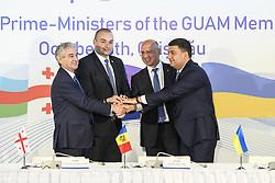 October 5, 2018 - Chisinau, Moldova - Deputy Prime Minister of Azerbaijan Ali Ahmadov, Prime Minister of Georgia Mamuka Bakhtadze, Prime Minister of Moldova Pavel Filip and Prime Minister of Ukraine Volodymyr Groysman, during the official opening of the GUAM head of states meeting in Mimi Castle in Bulboaca Village, 45km from Chisinau, Moldova, 05 October 2018. GUAM is the Organization for democracy and economic development of four former-Soviet countries; Georgia, Ukraine, Azerbaijan, Moldova. (Credit Image: © Maxym Marusenko/NurPhoto/ZUMA Press)