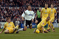 Photo: Kevin Poolman.<br />Derby County v Sheffield Wednesday. Coca Cola Championship. 13/01/2007. Giles Barnes of Derby is bought down by Madjid Bougherra (right) of Wednesday just outside the box.