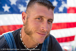 Josh Owens of the Moonshiners television show at the Chopper Time Old School Bike Show at Willy's Tropical Tattoo during the Biketoberfest Rally. Ormond Beach, FL, USA. October 15, 2015.  Photography ©2015 Michael Lichter.
