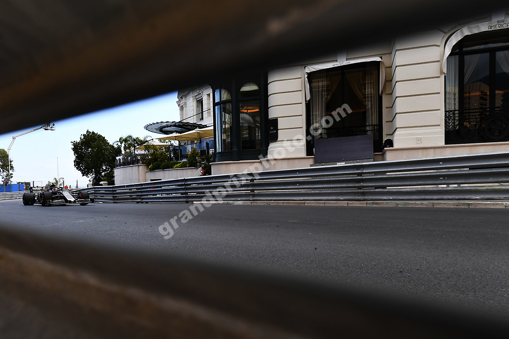 Kevin Magnussen (Haas-Ferrari) seen through the barrier / armco during practice before the 2019 Monaco Grand Prix. Photo: Grand Prix Photo
