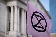 Climate Change Extinction Rebellion protesters occupy Bank in the City of London, the capital's financial district, on 2nd September 2021, in London, England,