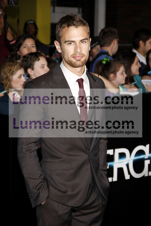 """Theo James at the Los Angeles premiere of """"Divergent"""" held at the Regency Bruin Theatre in Westwood, USA on March 18, 2014."""