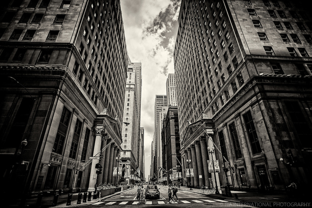 Financial District, LaSalle & Jackson Streets, Chicago (monochrome)