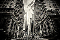 Financial District, LaSalle & Jackson Streets, Chicago (monochrome)