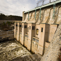 Comerford Dam on the Connecticut River in Monroe, New Hampshire.