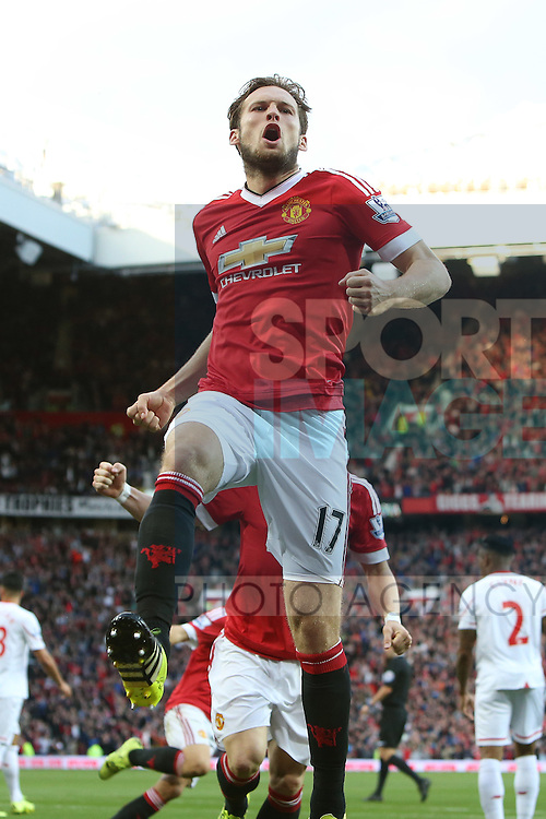 Daley Blind of Manchester United celebrates his opening goal - Manchester United vs Liverpool - Barclay's Premier League - Old Trafford - Manchester - 12/09/2015 Pic Philip Oldham/SportImage