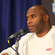 Louisville Cardinals head coach Charlie Strong answers media questions about quarterback Teddy Bridgewaters future with the team after the NCAA Football Russell Athletic Bowl football game between the Louisville Cardinals and the Miami Hurricanes, at the Florida Citrus Bowl on Saturday, December 28, 2013 in Orlando, Florida. Louisville won the game by a score of 36-9, and as of today, Bridgewater is undecided on his return to the team. (AP Photo/Alex Menendez)
