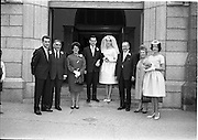 28/07/1962<br /> 07/28/1962<br /> 28 July 1962 <br /> Wedding of Mr Desmond F. English, Landscape Cresent, Churchtown and Miss Blanche O'Brien Oakley Park, Blackrock at St John the Baptist Church, Blackrock and Ross's Hotel Dun Laoghaire, Dublin. Image shows the wedding party outside the church after the ceremony.