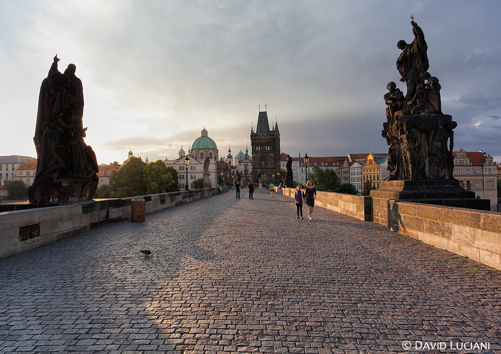 The Charles Bridge, seen early in the morning.