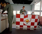 Pilots of the Red Arrows, Britain's RAF aerobatic team in the Squadron Building's crew room at RAF Akrotiri.