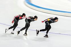 10-11-2017 NED: ISU World Cup, Heerenveen<br /> Team Pursuit men, Canada D  Morrison,  J  Belchos,  T  Bloemen,  B  Donnelly,