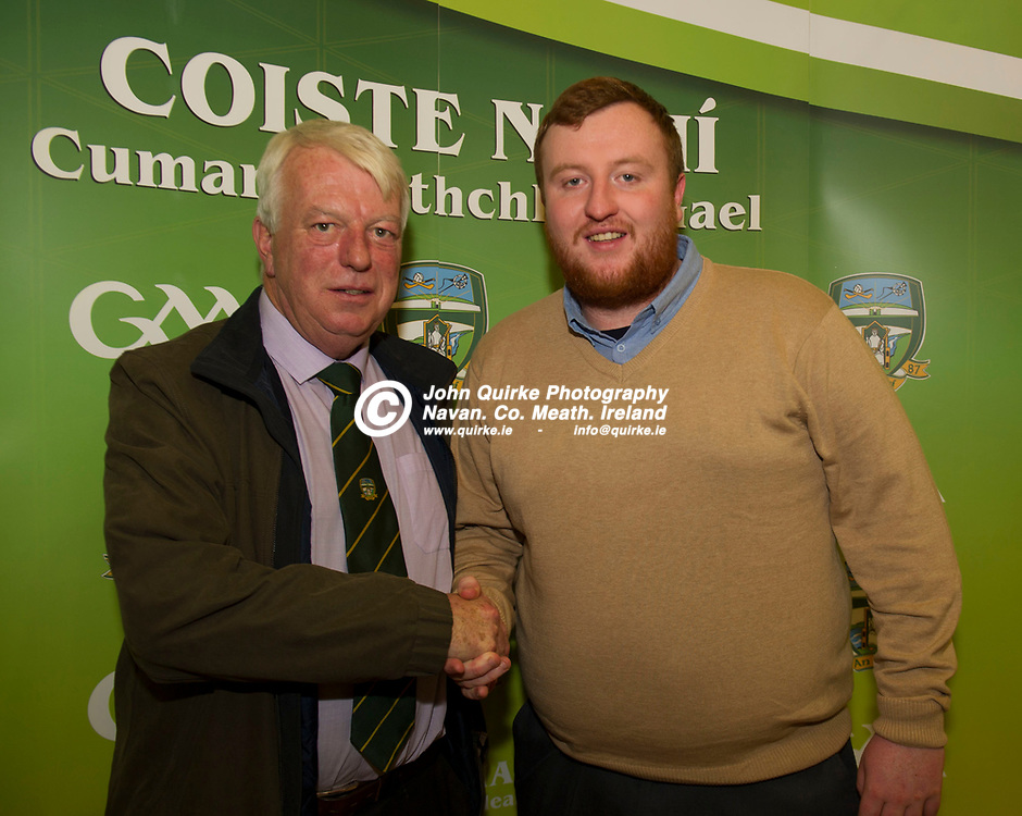 11-12-17. Meath GAA Annual Convention at Navan O'Mahony's GAA Clubhouse, Navan.<br /> Francis Flynn, newly elected Assistant Treasurer and his son Ciaran Flynn newly elected PRO, Meath GAA County Board.<br /> Photo: John Quirke / www.quirke.ie<br /> ©John Quirke Photography, Unit 17, Blackcastle Shopping Cte. Navan. Co. Meath. 046-9079044 / 087-2579454.