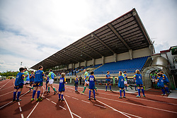 Players of Slovenia arrive before rugby match between National team of Slovenia (green) and Bulgaria (white) at EUROPEAN NATIONS CUP 2012-2014 of C group 2nd division, on April 12, 2014, at ZAK Stadium, Ljubljana, Slovenia. (Photo by Matic Klansek Velej / Sportida.com)