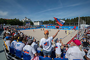 Russian fans celebrate as a goal is scored for the Russian Federation against Spain during the beach soccer first round group B match at the Olympic Sports Complex during the Minsk 2019 European Games on the 25th June 2019 in Minsk, Belarus.