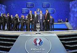 PARIS, FRANCE - Saturday, December 12, 2015: Group B team managers; Slovakia head coach Ján Kozák, England manager Roy Hodgson, Russia head coach Leonid Slutski and Wales' manager Chris Coleman head coaches during the draw for the UEFA Euro 2016 Championship at Le Palais des Congrès de Paris. (Pic by UEFA/Pool/Propaganda)