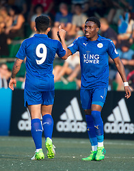 May 28, 2017 - Hong Kong, Hong Kong SAR, China - Joshua Gordon (who scored Leicesters 1st goal) congratulates Josh Eppiah (R) on scoring Leicesters second goal.Leicester City win their second HKFC Citi Soccer Sevens title following a 3-0 victory over defending champions Aston Villa in the final.2017 Hong Kong Soccer Sevens at the Hong Kong Football Club Causeway Bay. (Credit Image: © Jayne Russell via ZUMA Wire)
