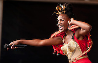 The Noisettes perform live on stage. Photograph for show organiser PR and case study.