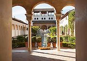 Patio de la Acequia, Court of the water Channel, Generalife palace gardens, Alhambra, Granada, Spain