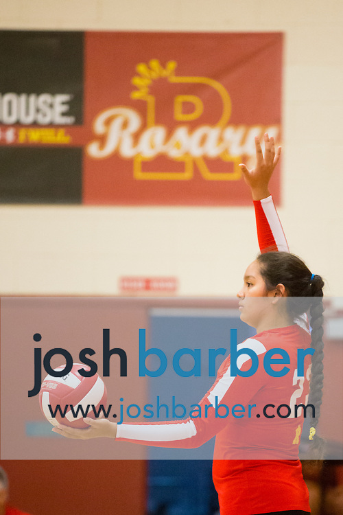 Brittney Pinzon during a non-league girl's volleyball match between the Canyon Comanches and Rosary Royals at Rosary Academy on Thursday, September 17, 2015 in Fullerton, California.