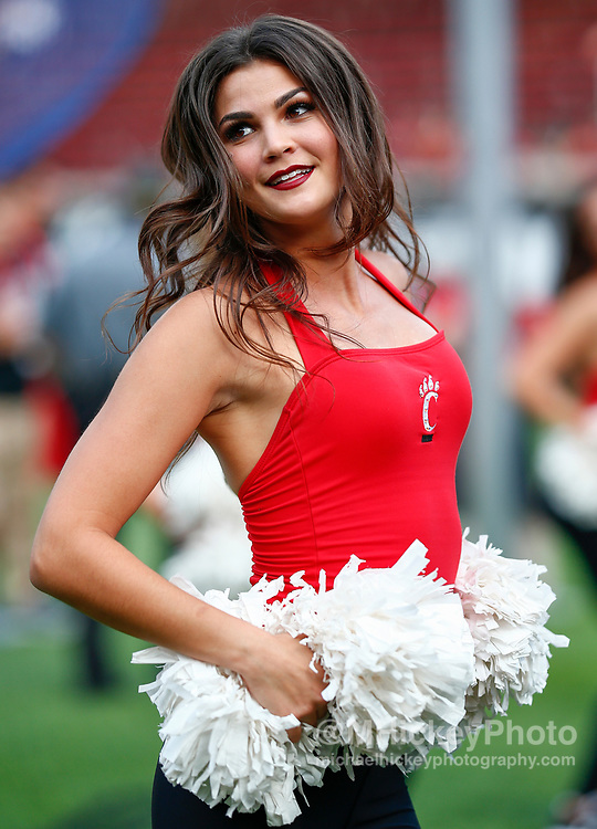 CINCINNATI, OH - AUGUST 31: A Cincinnati Bearcats dancer is seen during the game against the Austin Peay Governors at Nippert Stadium on August 31, 2017 in Cincinnati, Ohio. (Photo by Michael Hickey/Getty Images)