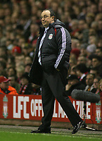 Photo: Paul Thomas.<br /> Liverpool v Arsenal. Carling Cup. 09/01/2007.<br /> <br /> Dejected Rafael Benitez, manager of Liverpool.