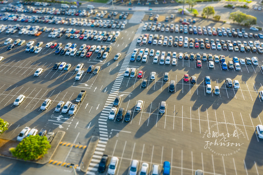 Aerial view of the car park (parking lot) at Warner Bros Movie World, Helensvale, Gold Coast, Queensland, Australia***No PR