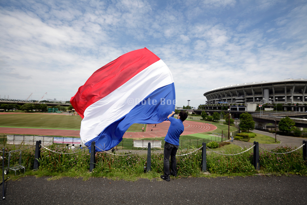 Dutch red white and blue flag at sports event by the Nissan stadium Yokohama