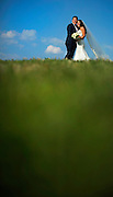 A bride and groom in Liberty State Park in Jersey City, New Jersey.