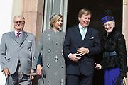 Staatsbezoek Denemarken - Dag 1. Aankomst en Téte-á-tète  op Paleis Fredensborg<br /> <br /> State visit Denmark - Day 1. Arrival and Téte-á-tète  at Palace Fredensborg<br /> <br /> <br /> op de foto / On the photo:  Prins Henrik, koning Willem-Alexander, Deense koningin Margarethe, koningin Maxima en prins Frederik <br /> <br /> Prince Henrik, king Willem-Alexander, Queen Margarethe, Queen Maxima en prince Frederik