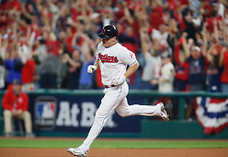 October 5, 2017 - Cleveland, OH, UKR - The Cleveland Indians' Jay Bruce runs the bases after his two-run home run against the New York Yankees in the fourth inning during Game 1 of the American League Division Series on Thursday, Oct. 5, 2017, at Progressive Field in Cleveland. (Credit Image: © Leah Klafczynski/TNS via ZUMA Wire)