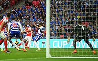 Arsenal's Alexis Sánchez scores his sides second goal <br /> <br /> Photographer Ian Cook/CameraSport<br /> <br /> Football - The FA Cup Semi-Final - Reading v Arsenal - Saturday 18th April 2015 - Wembley - London<br /> <br /> © CameraSport - 43 Linden Ave. Countesthorpe. Leicester. England. LE8 5PG - Tel: +44 (0) 116 277 4147 - admin@camerasport.com - www.camerasport.com