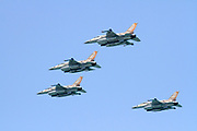 4 Israeli Air Force F-16 flying in formation