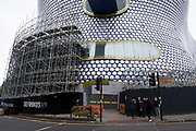 Refurbishment of the iconic Selfridges building in the city centre on 18th January 2020 in Birmingham, United Kingdom. The exterior of the building will be wrapped in scaffolding and a protective covering while it undergoes renovation while the discs are cleaned and repainted in its original colour.