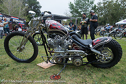 Invited Builder Paul Cox's (Paul Cox Industries, Brooklyn, NY) BF6 custom with it's heavily modified Harley-Davidson Shovelhead engine on Day one of the Born Free Vintage Chopper and Classic Motorcycle Show at the Oak Canyon Ranch in Silverado, CA. USA. Saturday, June 28, 2014.  Photography ©2014 Michael Lichter.