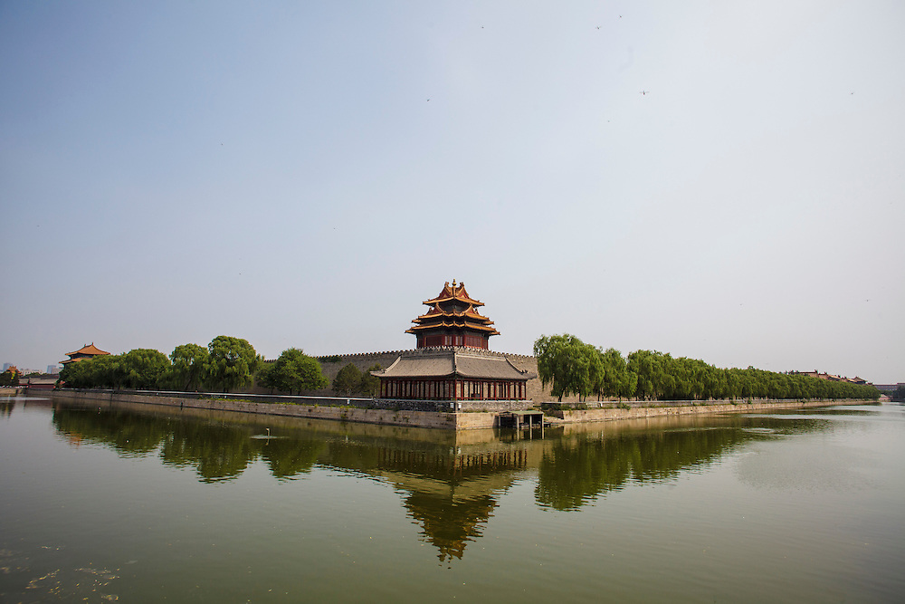 One of the turrets on the corners of the Forbidden City wall.