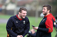 Dan Biggar of Wales (l) shares a joke with WRU national team media manager Luke Broadley (r).  Wales Rugby team training at the Vale Resort, Hensol near Cardiff, South Wales on Thursday 2nd Feb 2017.  The team are preparing for the the RBS Six nations match against Italy.  pic by  Andrew Orchard, Andrew Orchard sports photography.
