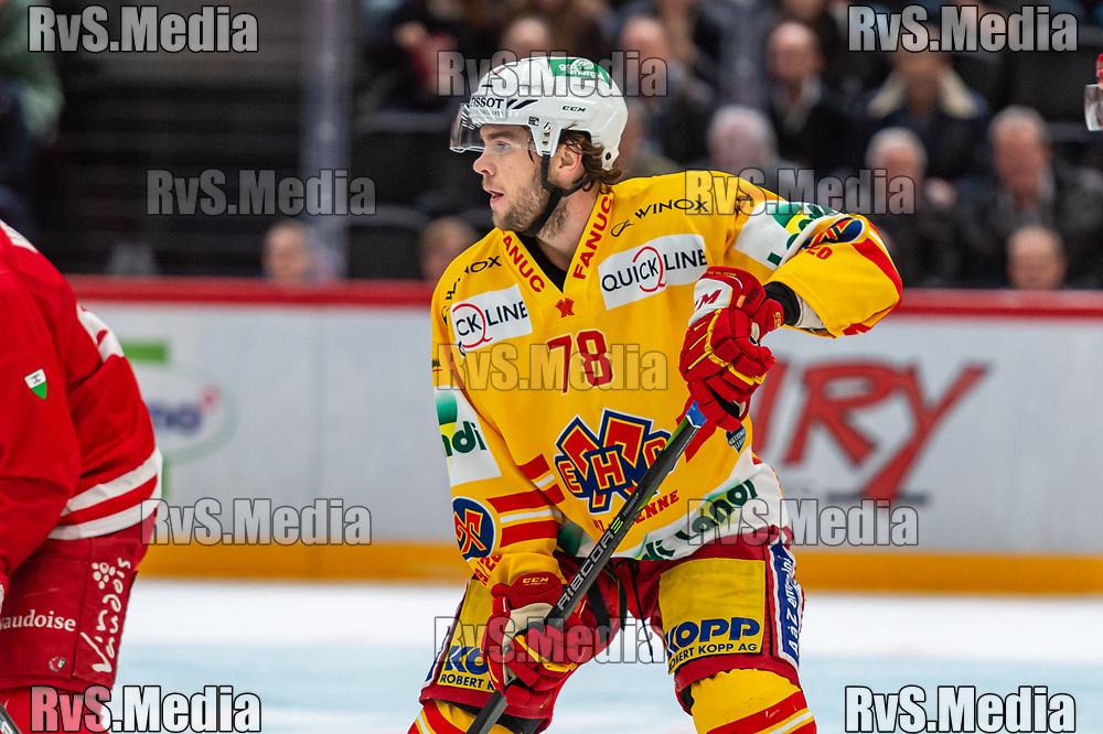 LAUSANNE, SWITZERLAND - NOVEMBER 15: #78 Marc-Antoine Pouliot of EHC Biel looks on during the Swiss National League game between Lausanne HC and EHC Biel-Bienne at Vaudoise Arena on November 15, 2019 in Lausanne, Switzerland. (Photo by Monika Majer/RvS.Media)