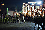 Moscow, Russia, 04/05/2010..A Turkmenistan army officer on horseback at a night time rehearsal in Red Square for the forthcoming May 9 Victory Day parade, scheduled to be the largest for many years.