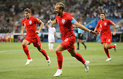England's Harry Kane (centre) celebrates scoring his side's first goal of the game during the FIFA World Cup Group G match at The Volgograd Arena, Volgograd.