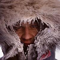 INTERNATIONAL ARCTIC PROJECT. Ulrik Vedel in camp at Cape Arkticheskiy, Severnaya Zemlya. Temp: -40 deg.