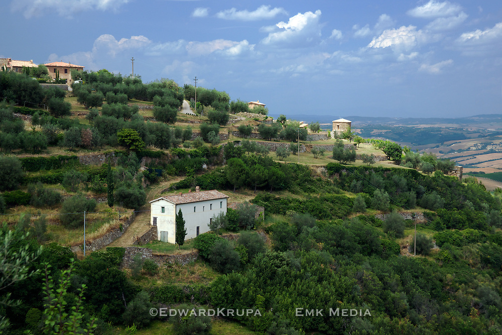 Hillside farms just outside the beautiful village of Montalcino in Tuscany.