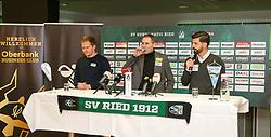 04.01.2021, Keine Sorgen Arena, Ried, AUT, 1. FBL, SV Guntamatic Ried, Pressekonferenz zur Vorstellung des neuen Cheftrainers und Sportkoordinators, im Bild v.l. Sportkoordinator Wolfang Fiala (SV Guntamtic Ried), Geschäftsführer Rainer Wöllinger (SV Guntamatic Ried), Trainer Miron Muslic (SV Guntamatic Ried) // during a press conference to introduce the new head coach and sports coordinator of SV Guntamatic Ried at the Keine Sorgen Arena in Ried, Austria on 2021/01/04. EXPA Pictures © 2020, PhotoCredit: EXPA/ Roland Hackl