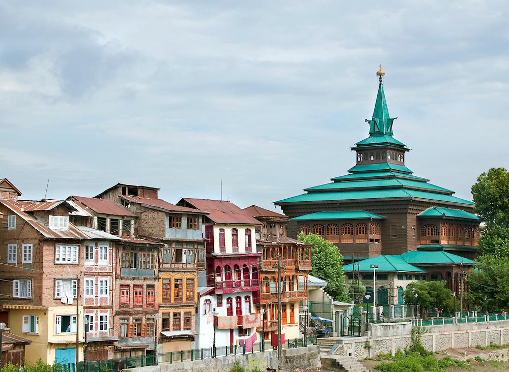 Shah Hamadan Mosque and local houses in Srinigar, Kashmir, India