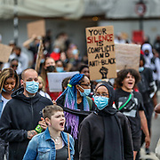 People participate in a Black Lives Matter protest rally, which started in Hyde Park central London and continued marching towards US Embassy through Trafalgar Square, Downing Street up to the Parliament Square, Lambeth Bridge (in the picture) towards the US Embassy on Wednesday, Jun 3, 2020 - in memory of George Floyd who was killed on May 25 while in police custody in the US city of Minneapolis. (Photo/ Vudi Xhymshiti)