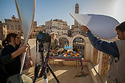Sanaa, Yemen. Old City. Ahmed Swaid, qat seller, with one day's food. For Nutrtion 101 project. MODEL RELEASED.