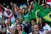 Crowds watching the mens 200m heats, with Usain Bolt competing for Jamaica, Engenho stadium, where the Athletics are held at Rio 2016, Rio de Janeiro, Brazil.